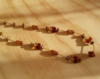 Amber and Gold beaded necklace