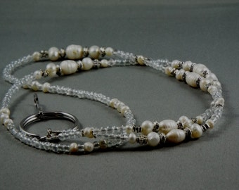 "Freshwater pearls and crystal lanyard .Your choice of attachment ID or key. 32"" to 42""  including attachment."