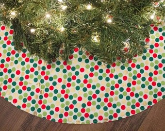 Christmas Tree Skirt-Red-Metallic God-Green-Dots-Holiday Decoration-Christmas Decoration-42""