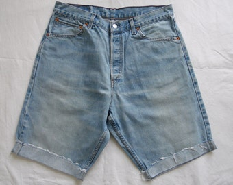 Mens Levis shorts, vintage 522, blue distressed denim, jean cut off long shorts, waist 32
