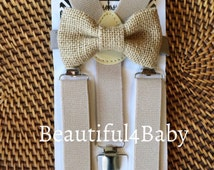 Burlap Bow Tie and Tan Suspenders- Burlap Baby Bow Tie, Burlap Toddler Bow Tie, Butlap Bow Tie and Suspender Set- 6 Months to 5 Years Old