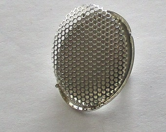 3 Sets Oval Brooch Findings with Perforated Disc - Silver Plated - Pin - 22 x 30 mm - FPDSOVAL