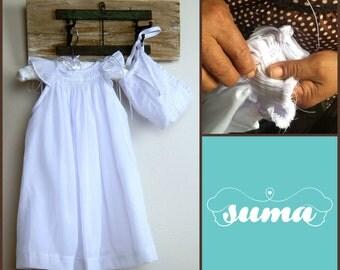 White Cotton Christening Gown Baptism dress with bonnet  Smocked White Baby Dress Infant Christening, Dedication Dress, Girl Blessing Gown