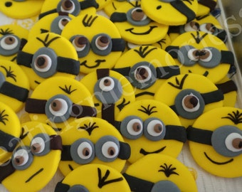 FONDANT MINION  - Edible Minion cupcake toppers. Perfect for that special birthday Yellow and/or Purple