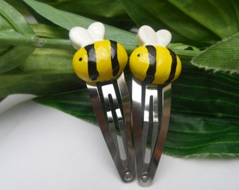 Bumble Bee Snap barrettes, girls hair clips, kids hairclips, kids hairclips, novelty barrettes, Bumble Bee hair accessories