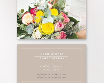 Wedding Photographer Business Card Template, Modern Business Card Design, Digital Photoshop Files - INSTANT DOWNLOAD