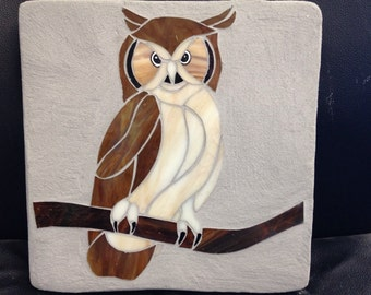 Owl stained glass mosaic garden stepping stone