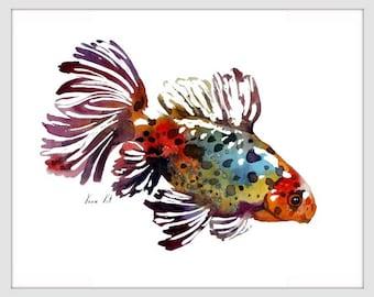 Goldfish Art Print,ORIGINAL Watercolor Fish Painting,Home decor 025