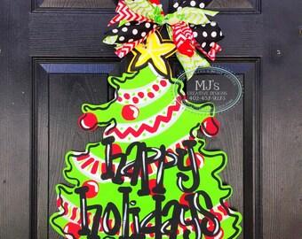 Christmas Door Hanger- Christmas Tree Door Hanger, Happy Holidays Door Decor