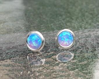 Light blue Opal Stud earrings