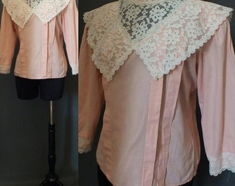 Glam Victorian Romantic Peach Cotton Top Lace Top Blouse Prairie Top