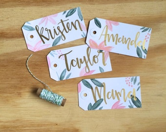 Floral Bridesmaid Gift Tags - Bridesmaids Gift - Wedding - Modern Calligraphy - Watercolor