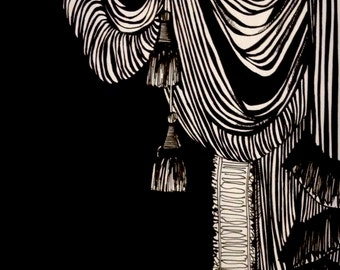 black and white illustrated wall art - Frills and Folds