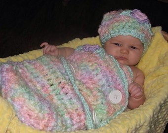 CROCHET PATTERN - Crochet Baby Swaddler Cocoon and Hat Set in Newborn & 3-6 Month Sizes / Crochet Baby Cocoon / Crochet Swaddle / Baby Wrap