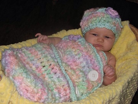 Crochet Pattern For Shell Baby Blanket : CROCHET PATTERN Crochet Baby Swaddler Cocoon and Hat Set in