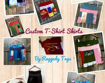 Custom Upcycled A-Line Skirt made from YOUR favorite T-shirts!