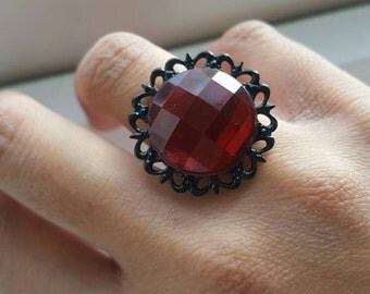 Dark Red Gothic Cabochon Ring