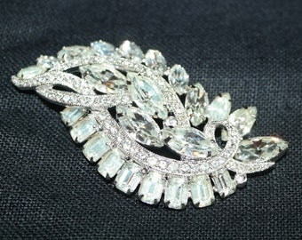 Vintage Eisenberg Ice  Brooch with Diamond, Baguette, and Navette Stones- Absolutely Gorgeous Sparkle