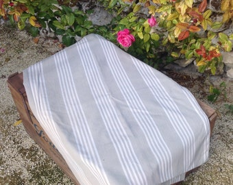 Vintage French pale grey ticking fabric