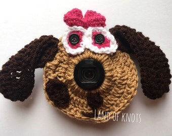 Dog camera lens buddy, crochet camera buddy, puppy camera buddy, dog camera accessories, photography props, photo props.