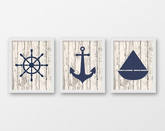 Nautical Art Print Set of 3 - Nautical Decor - Wall Art - Sea Life Decor - Sailing Art - Set of 3