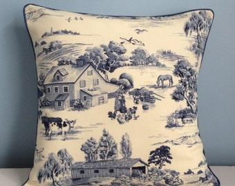 French farmhouse throw pillow cover. Blue toile. Pillow Ticking. Shabby cottage chic. French decor. Country cottage decorator pillow. Cows.