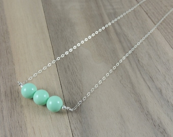 Sterling silver aqua glass bead necklace
