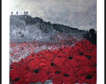We Remember, We Fight On, from the War Poppy Collection No.1 by Jacqueline Hurley. Professional quality print in remembrance of Our Heroes