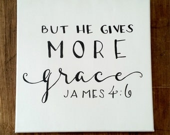Hand Painted Canvas with Scripture James 4:6