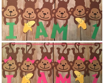 Monkey High Chair Banner   Safari Banner   Monkey Birthday   Banana Birthday   Bananas For You   Monkey Banner