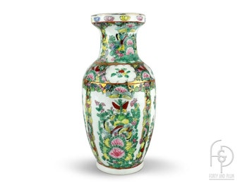 Famille Verte Style on White Ground Chinese Porcelain Urn Shaped Vase with Foliage, Flowers, Birds and Gold Accents.