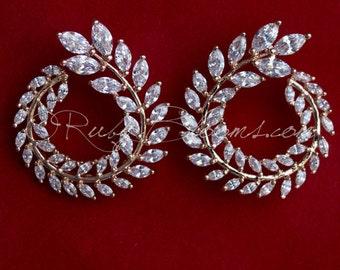 Art Deco CZ Rose Gold Earrings. Cubic Zirconia Bridal Earrings, Wedding Accessory, Zirconia Earrings. Bridesmaids, Bridal, Prom, Ruby Blooms