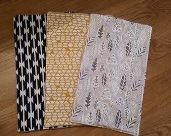 Gender neutral burp cloths,  Baby shower gift,  Navy Gold Gray