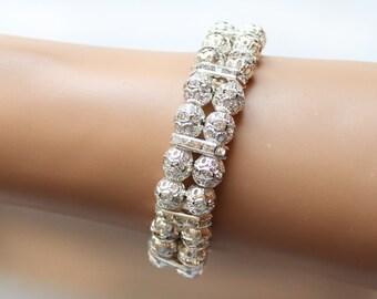 Rhinestone bracelet, bridal cuff bracelet, bridesmaid bracelet, bridesmaid gift, wedding jewelry, 2 strands bracelet