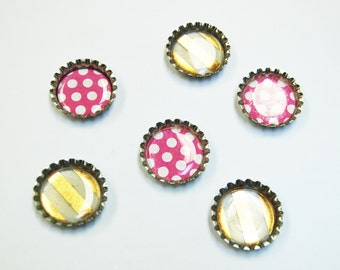 6 ct. Silver Bottle Cap Magnets (Variety Pack 4)