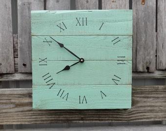 Sea Foam Green Pallet Clock, Wood Wall Clock, Shabby Chic Clock, Beach Clock, Rustic Beach Clock, Beach House Decor, Wood Clock, Primitive