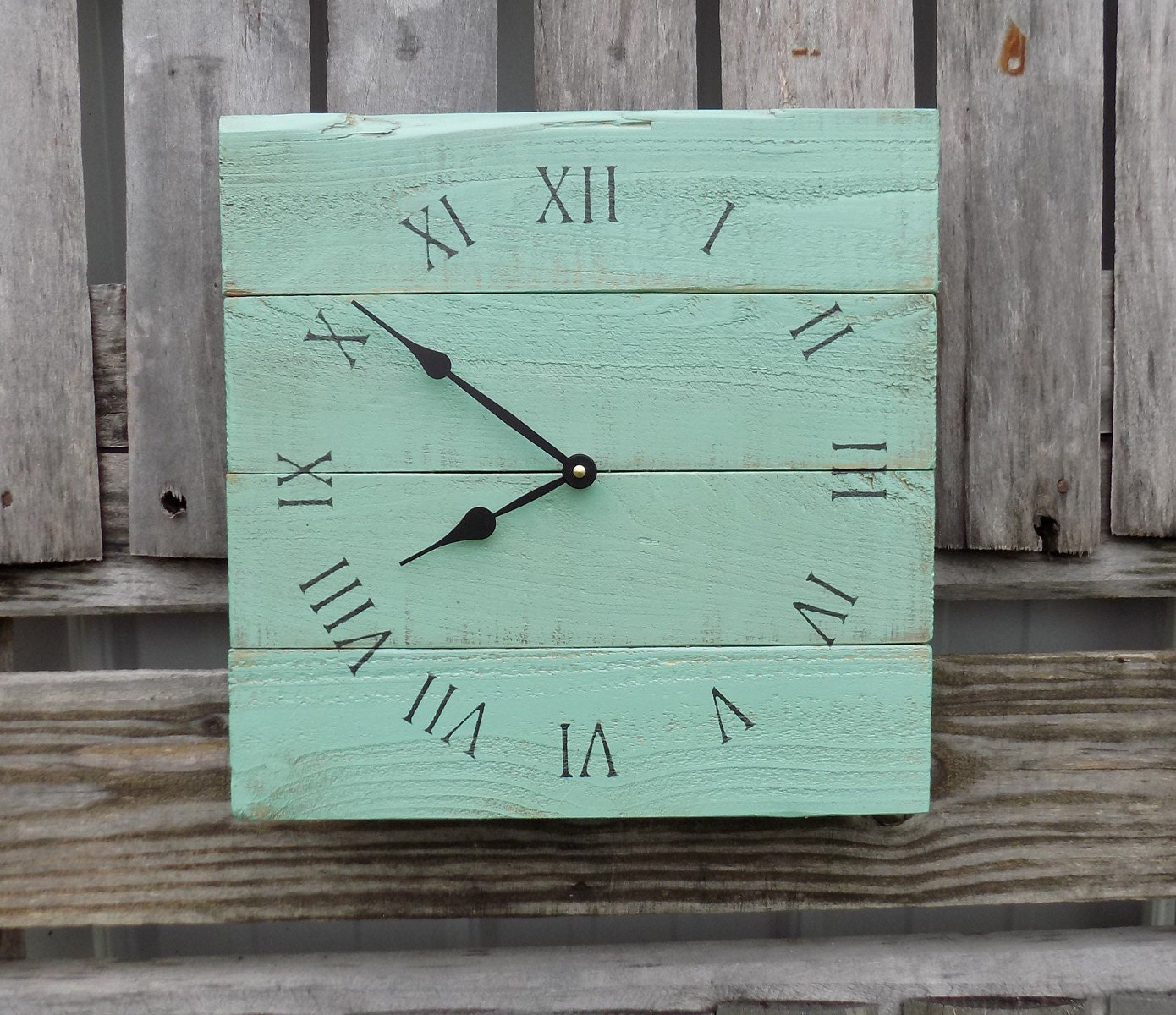 Sea foam green pallet clock wood wall clock shabby chic zoom amipublicfo Image collections