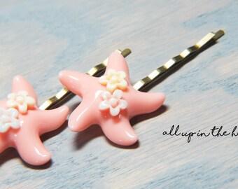 Starfish Bobby Pins - Bobby Pins - Hair Pins - Starfish Hair Pins - Pink Starfish Bobby Pins - Ocean Bobby Pins