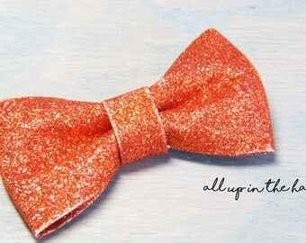 Orange Barrette - Orange Bow Clip - Orange Bow Barrette - Glitter Bow Barrette