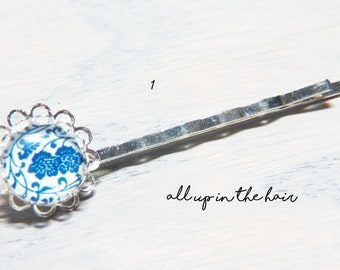 Blue And White Bobby Pins - Pottery Design Bobby Pins
