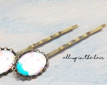 Flower Bobby Pin - Set of Two - Flower Hair Pins - Flower Bouquet Bobby Pins - Flower Bouquet Hair Pins - Blue Bobby Pins