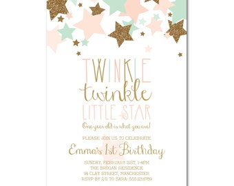 1st Birthday Party 5x7 Invitation - Twinkle Twinkle Little Star - Pink, Mint & Gold - Printable and Personalized