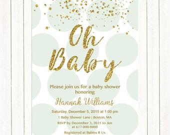 Mint Green and Gold Baby Shower Invitation, Gold Confetti Baby Shower Invitation, Oh Baby Mint dots Digital JPEG PDF Printable