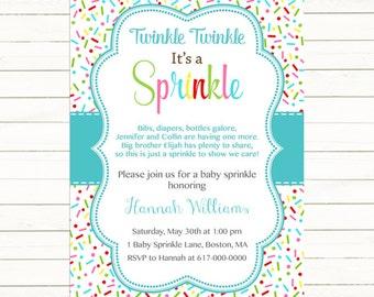 Baby Sprinkle Invitation Boy, Sprinkles Teal Aqua Baby Boy Sprinkle Invitation, Blue Baby Boy Sprinkle, printable Digital JPEG