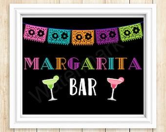 Margarita Bar Sign Printable, Margaritas and Beer Fiesta Sign, JPEG PDF Printable