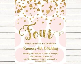 Pink and Gold 4th Birthday Invitation Girl, Any Age Pink Gold Heart Confetti Girl Fourth Birthday, Fourth Four Polka Printable Digital JPEG