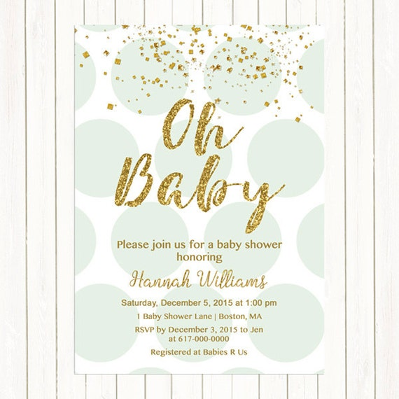 mint green and gold baby shower invitation gold confetti baby shower