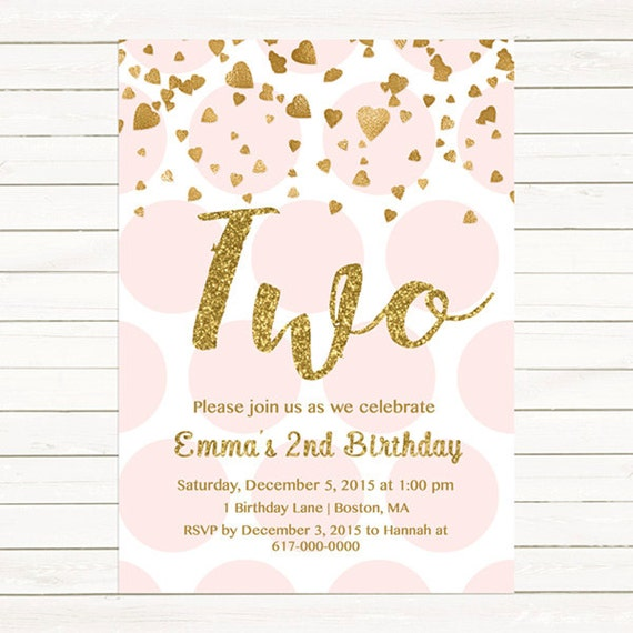 Pink and gold 2nd birthday invitation girl any age pink gold heart il570xn filmwisefo