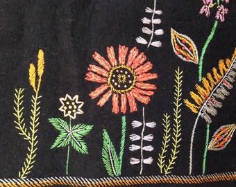Vintage Folk Art Wool Table Runner