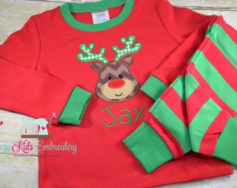 Christmas pajamas boy girl child kid baby toddler infant custom personalized monogram name xmas pjs christmas long short sleeve pants shorts